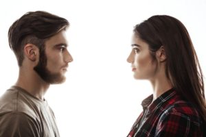 Man and woman maintaining eye contact