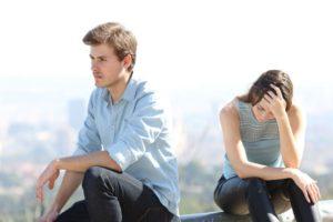 Man and woman upset