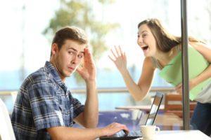 Man avoiding woman