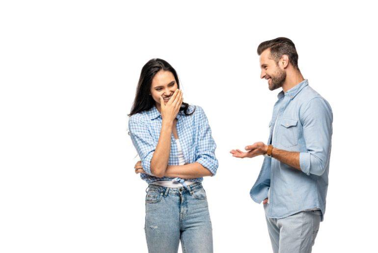 Man explaining to woman